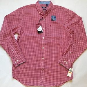 Izod Stretch Gingham Woven Shirt size small
